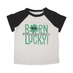 """First Impressions """"Born Lucky"""" Graphic Print Shirt"""